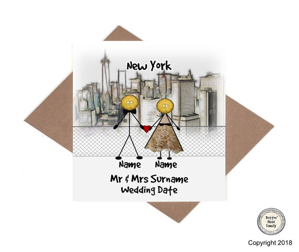 Button Head Family - Personalised New York Wedding or Anniversary Card