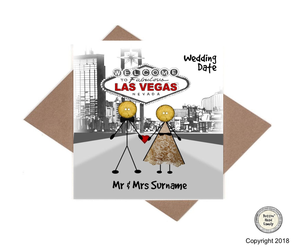 Button Head Family - Personalised Las Vegas Wedding or Anniversary Card
