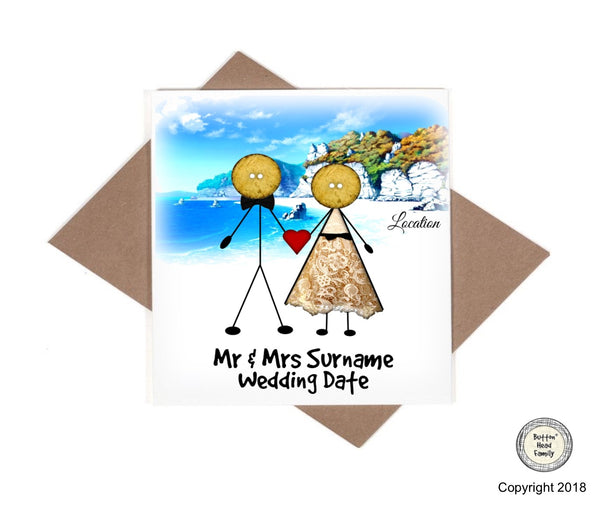 Button Head Family - Personalised Beach Wedding or Anniversary Card