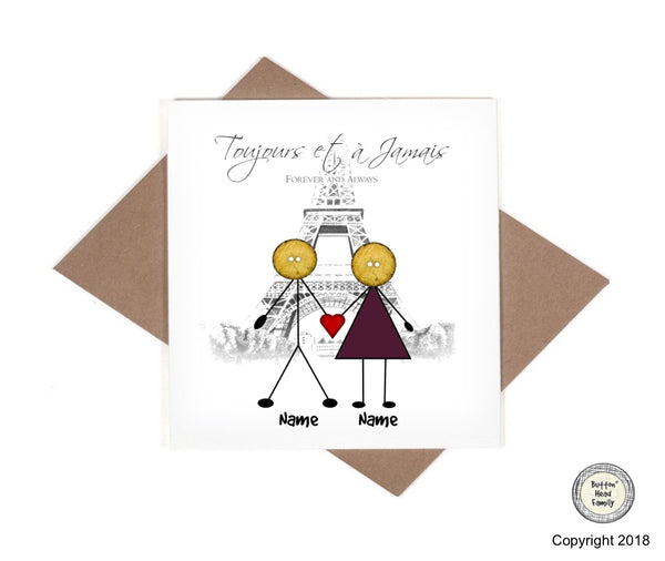 Button Head Family - Personalised Paris Eiffel Tower Love Romance Card