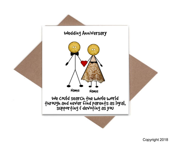 Button Head Family - Personalised Parent Anniversary Card