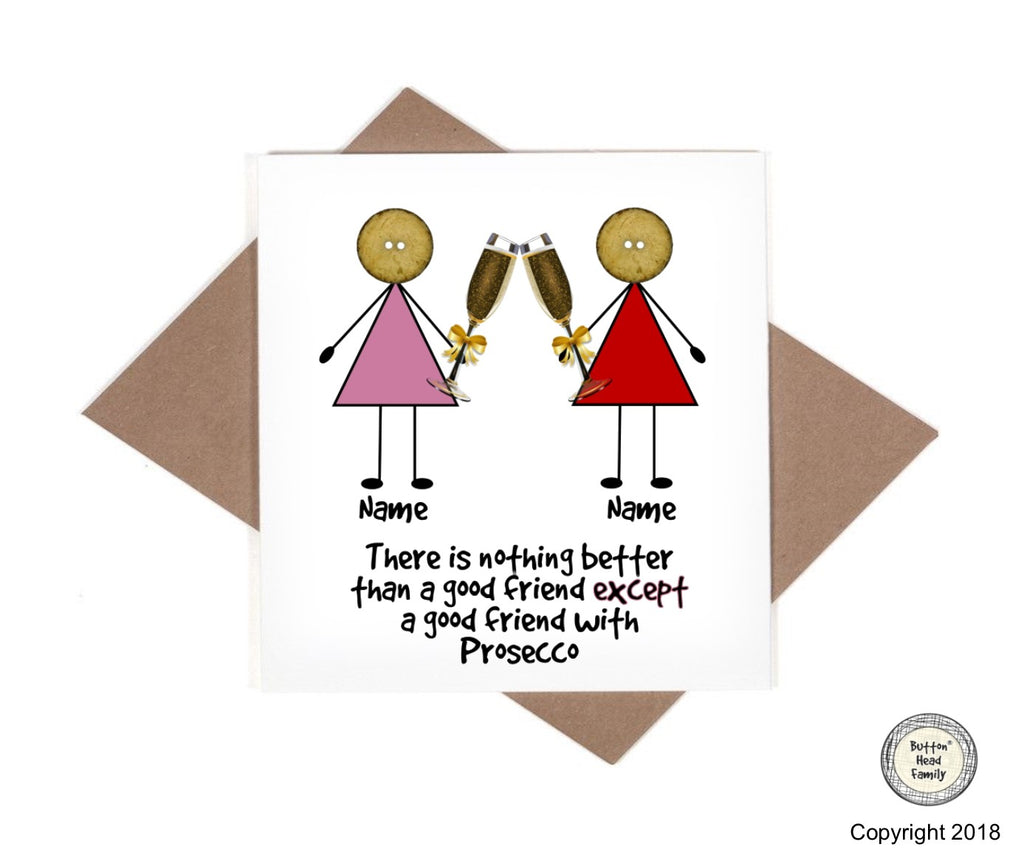 Button Head Family - Personalised Prosecco Friends Card