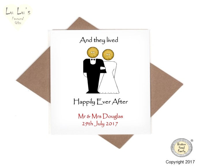 Button Head Family - Personalised Happily Ever After Card