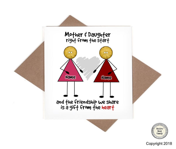 Button Head Family - Personalised Mother Daughter Pendant Card