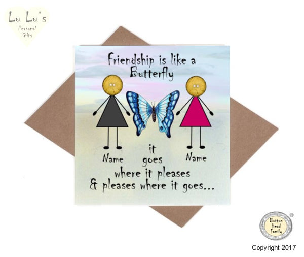 Button Head Family - Personalised Friendship is like a Butterfly Card