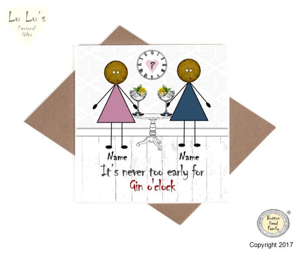 Button Head Family - Personalised It's never too early for Gin Friends Card