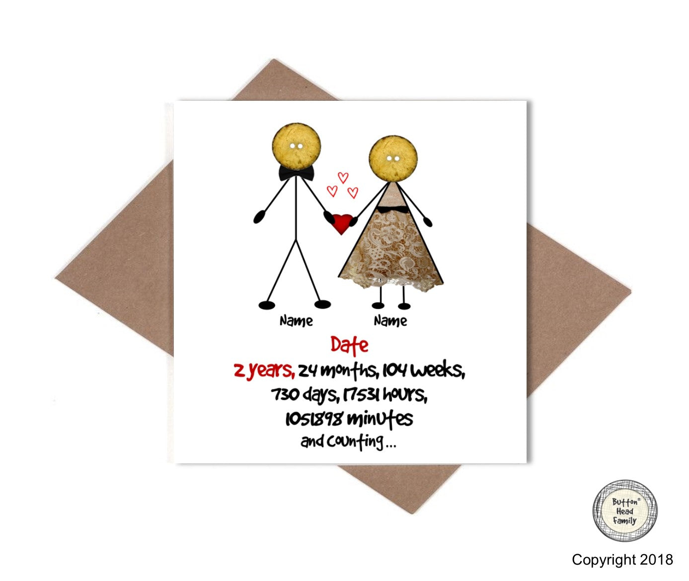 button head family personalised 2 year wedding anniversary card