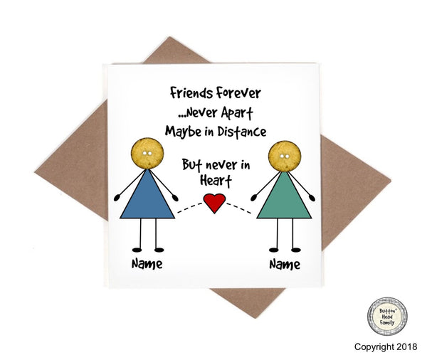 Button Head Family - Personalised Distance Friends Moving Away Card