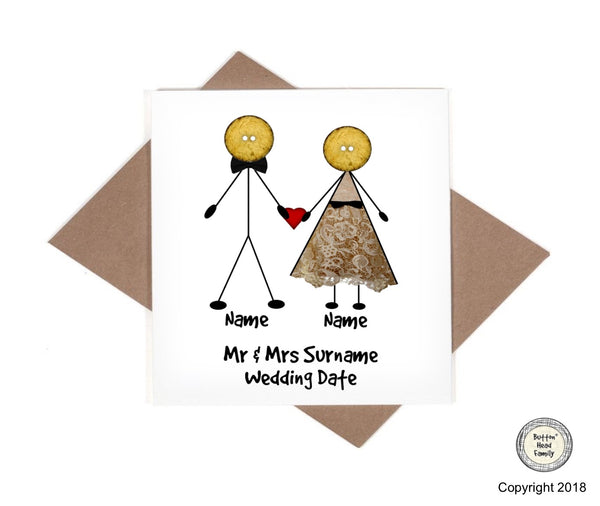 Button Head Family - Personalised Newlyweds Wedding Card