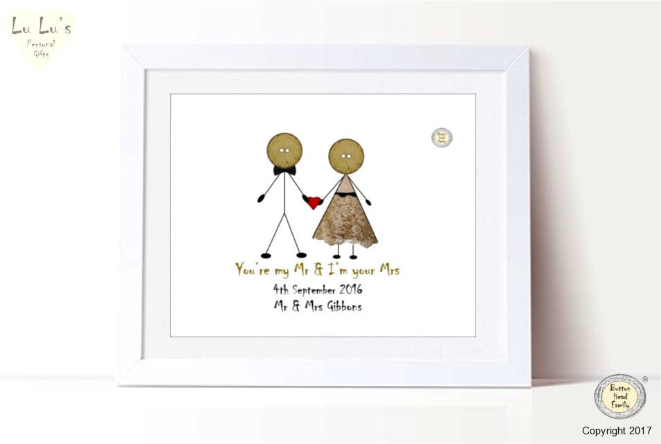 Button Head Family - Newlyweds personalised framed print
