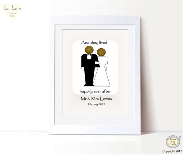 Button Head Family – Mr & Mrs Happily Ever After Personalised Framed Print
