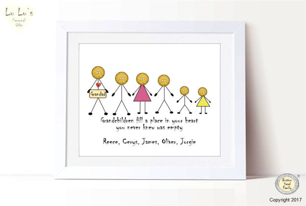 Button Head Family – Grandfather Family Line up Personalised Framed Print