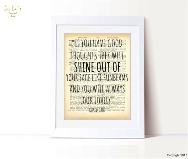 Roald Dahl - Sunbeams quote Personalised Framed Print