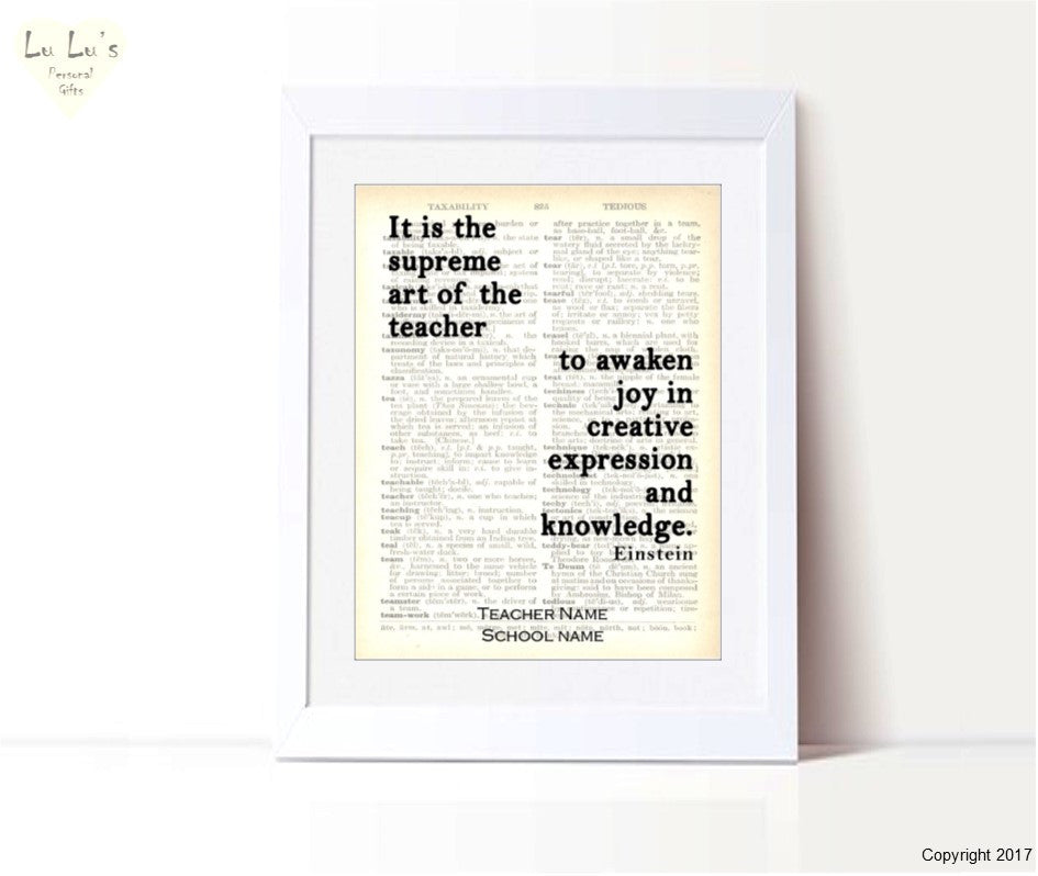 Dictionary Einstein quote Personalised Framed Print