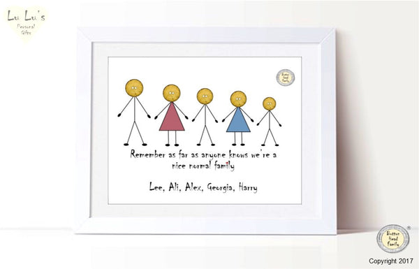 Button Head Family – Nice, Normal, Family Personalised Framed Print