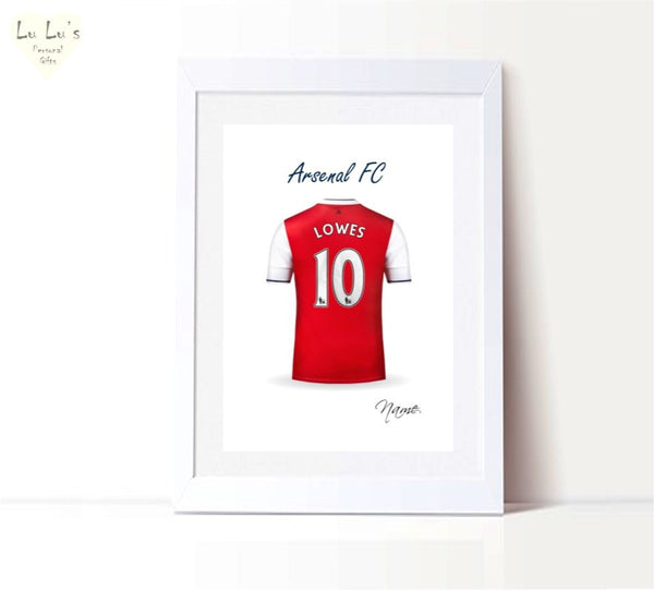 Favourite Football Team Personalised Shirt Framed Print