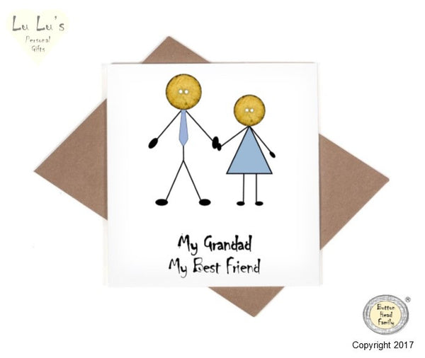 Button Head Family - My Grandad, My Best Friend Card