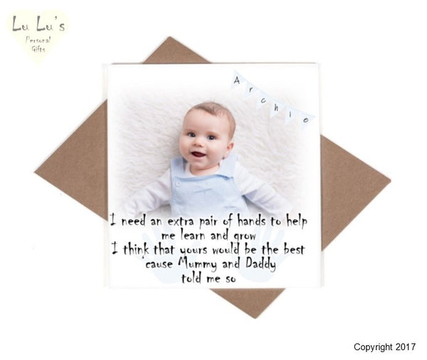 Christening - Will you be my God Parent Personalised Photo Card