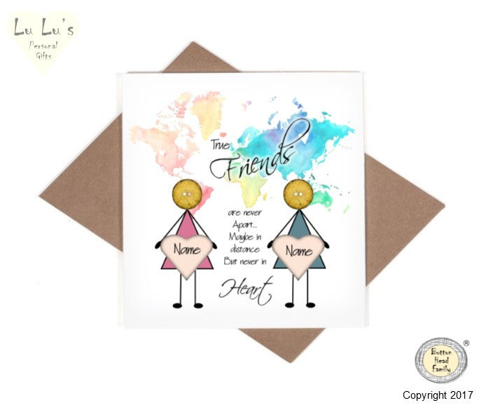 Button Head Family - Map Distance Friends - Card