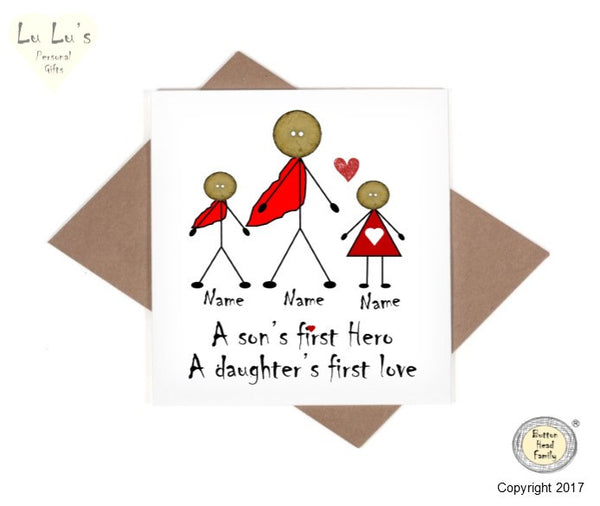 Button Head Family - Personalised Dad Father, Son & Daughter Card