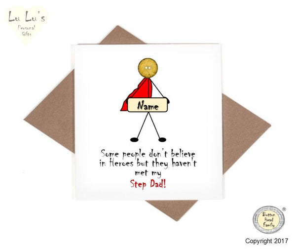 Button Head Family - Personalised Hero Step Dad Card