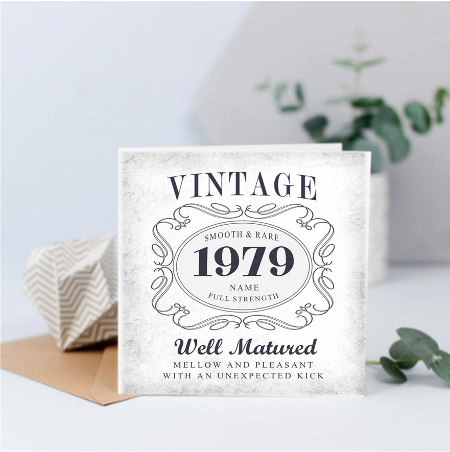 Vintage Birthday Year Keepsake Card
