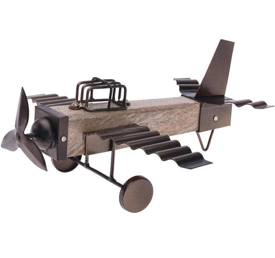 Wooden and Metal Plane Decoration - 27cm
