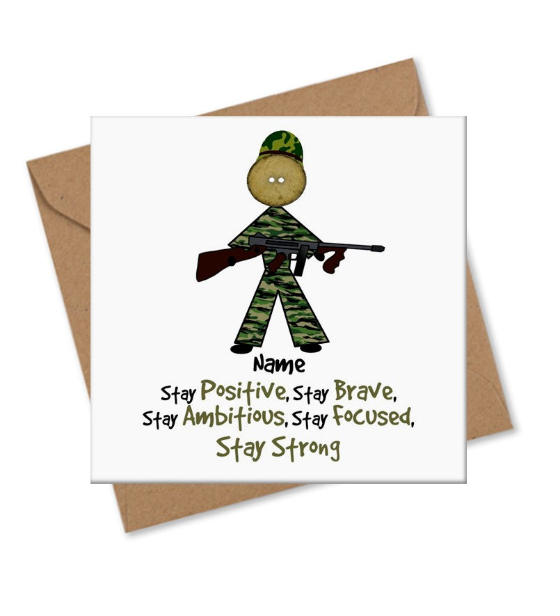 Army Character - Button Head Family Card