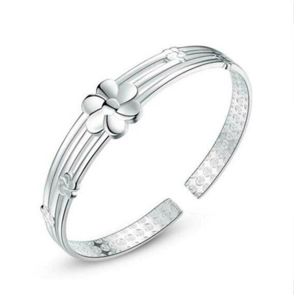 Flower Design Bangle - 925 Sterling Silver