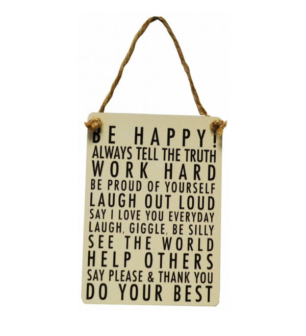 Mini Metal Sign - Be Happy