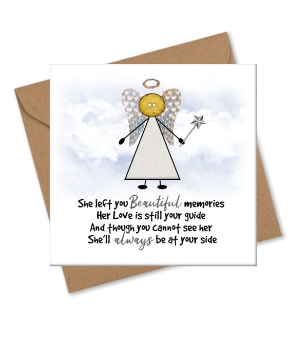 Personalised Angel Berevament Card - Button Head Family