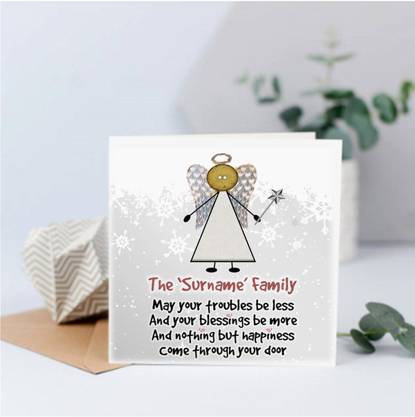 Fairy Angel Personalised Christmas Card - Button Head Family