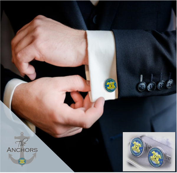 Stockton Town Football Club - Silver Logo Cufflinks in Gift Box