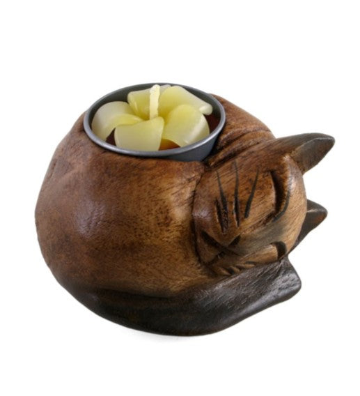 Curled Cat Tea Light Holder