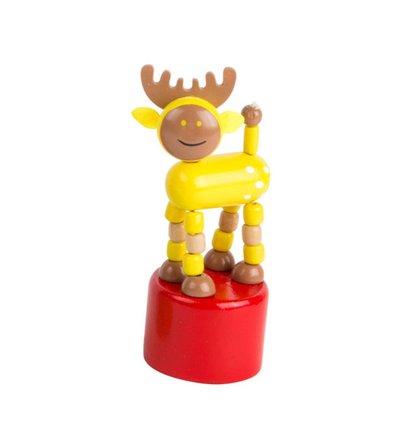 dancing wooden elk toy