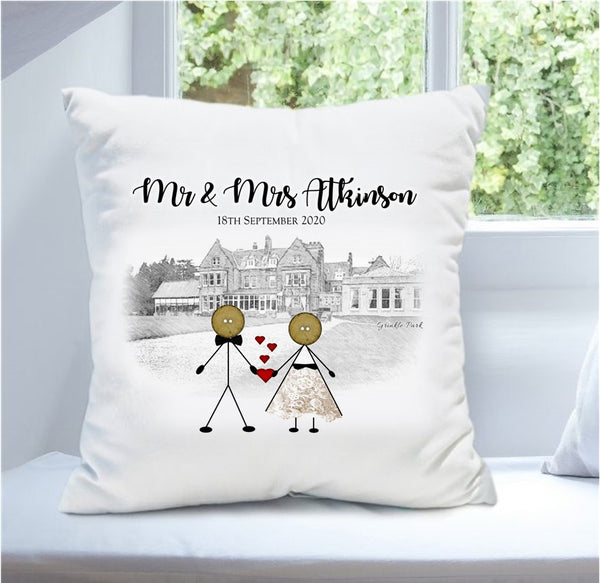 Personalised Wedding Venue Cushion - Button Head Family