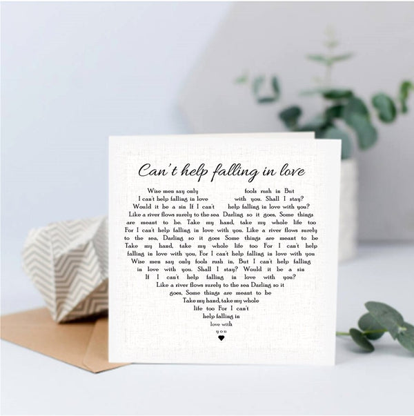 Can't help falling in love - Keepsake Card