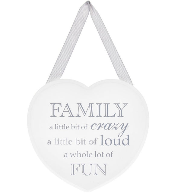 Family a little bit of Crazy - White Heart Plaque