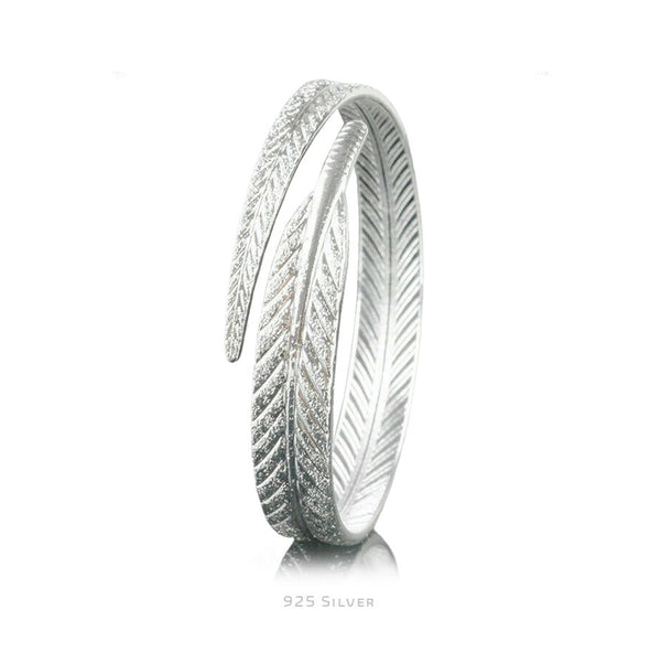 Adjustable Feather Bangle - 925 Sterling Silver