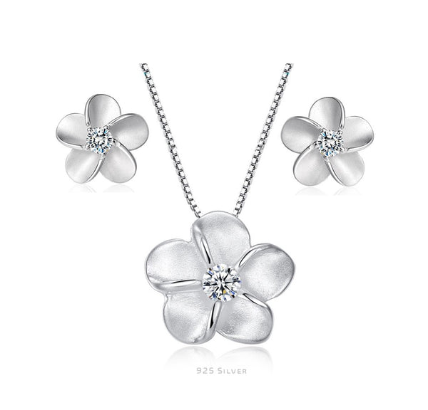 Sterling Silver Necklace and Earring Set - Forget me Not