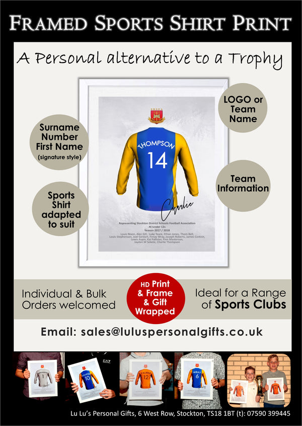 Personalised Sports Shirt Framed Print - Bulk Purchase