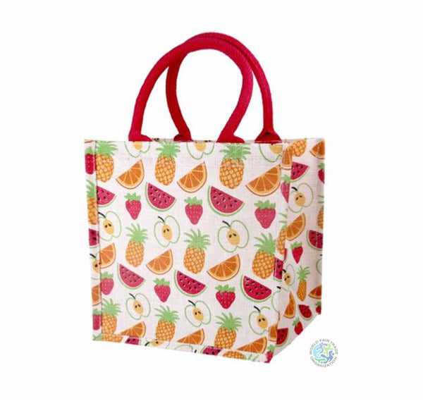Jute Shopper Bag - Fruit Design