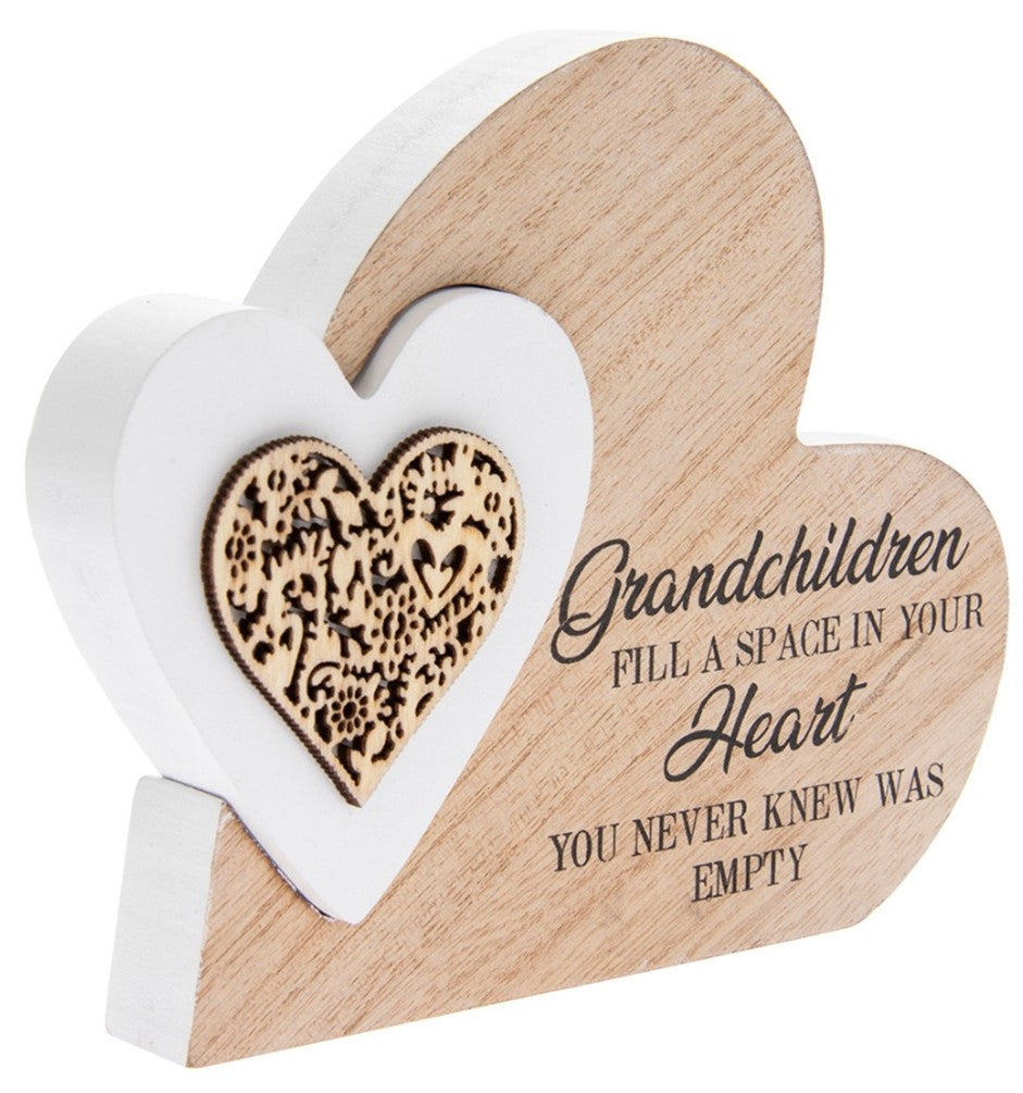 Double Heart Block Small - Grandchildren Quote