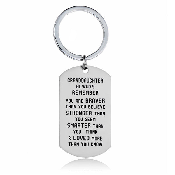 Granddaughter - Always Remember you are BRAVER Keyring