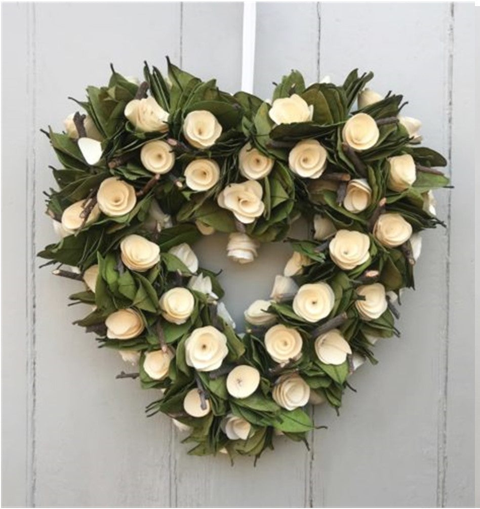 Wooden Heart Floral Wreath