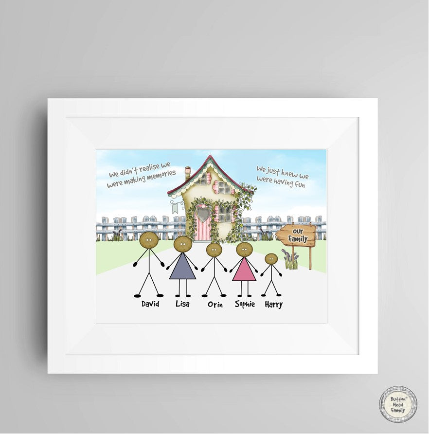 Personalised Framed Print - Button Head Family House Line up