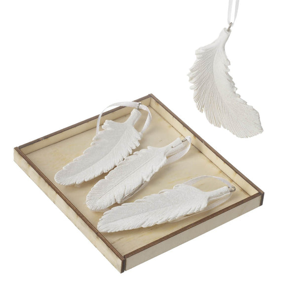White Resin Hanging Feather