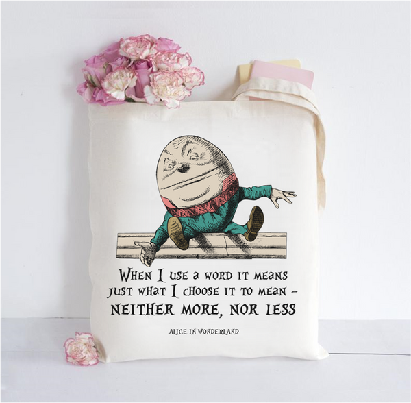 Alice in Wonderland Inspired Tote Bag - Humpty Dumpty