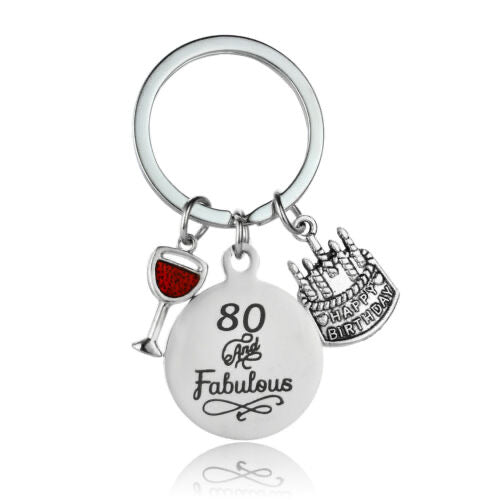 80th Birthday Keepsake Keyring