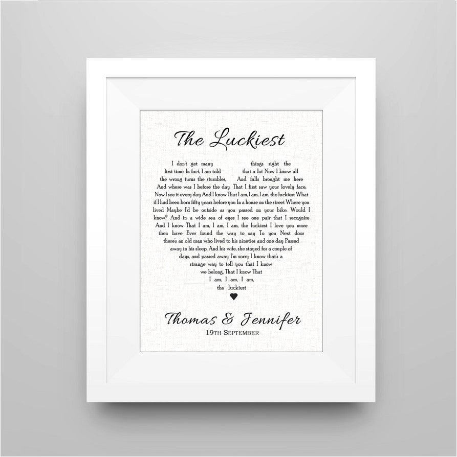 personalised song lyric print wedding gift